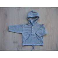 Baby Blu blauwgrijs/ wit gestreepte sweater mt 74