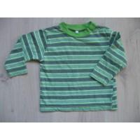 Groen/ wit/ grijs gestreepte longsleeve mt 80
