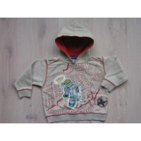 "Blue Seven zandkleurige tricot sweater ""Urban, Graffiti"" mt 104"