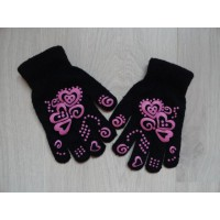 Zwarte handschoenen roze print 4-7 jaar