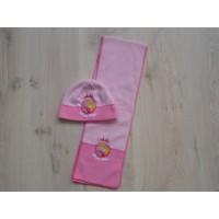 Barbie 2 dlg fleece set muts/ sjaal 1 maat