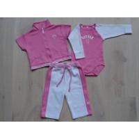 "3 dlg roze/ witte jogging set ""little 1"" mt 68"