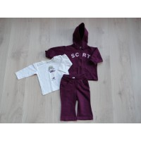 Ciddy 3 dlg bordeaux/ ecrú joggingpak mt 80