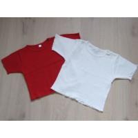 T-shirts 2 stuks rood en wit mt 92