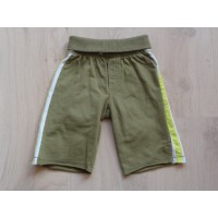 Hema legergroene tricot broek lime/wit mt 86