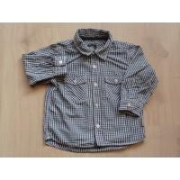 H&M blauw/wit geruite blouse mt 86