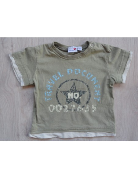 "Prénatal khaki t-shirt ""travel document"" mt 62"
