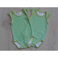 Baby Blue set 2 rompers lime/blauw gestreept mt 62-68