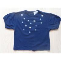 "Navyblauw T-shirt ""bloemen"" mt 74"