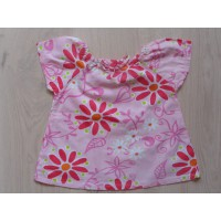"""Hema roze A-lijn T-shirt """"bloemen"""" mt 74"""