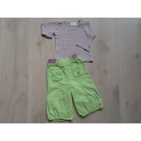 Babies 2 dlg set, groen, roze, wit mt 74