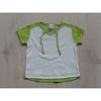 Hema T-shirt wit/ groen mt 74