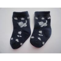 """Navy blauwe sokjes """"poesjes, bloemetjes"""" mt 16-18"""