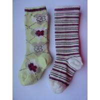 """2 paar lange sokken """"gestreept en bloemen"""" mt 16 - 18"""