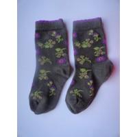 """Taupe/ Bruine sokken """"paars,groene bloemen"""" mt 19"""