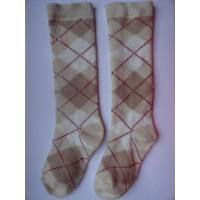Beige sokken met ruitmotief mt 19