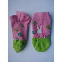 Nijntje roze, groene sneaker-/ enkelsokken mt 21