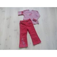 H&M/ Kiddy Girl 2 dlg set rood/ gebloemd/ gestreept mt 104
