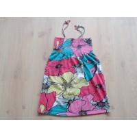 """H&M gebloemd jurkje """"petrol, roze, geel"""" mt 146 - 152"""