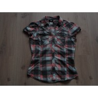 H&M blouse geblokt grijs zalm mint maat 152