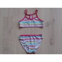 H&M fuchsia gestreepte bikini mt 122 - 128