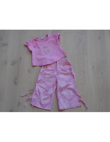 Barbara Farber 2 dlg roze set hartjes/ kriebels mt 92