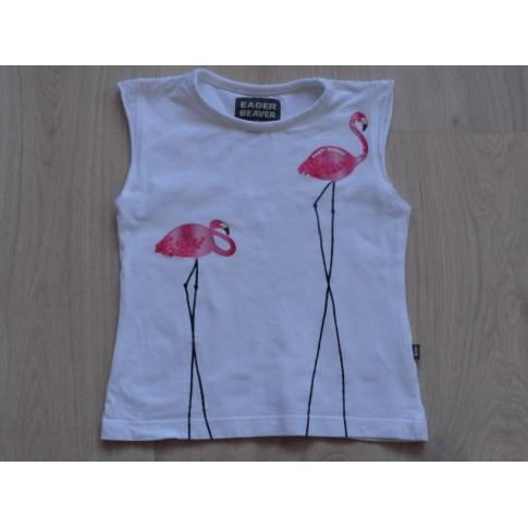 "Eager Beaver wit t-shirt ""Flamingo's"" mt 92"