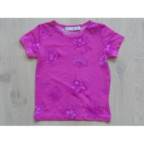 """Dubster roze T-shirt """"palmboom, hibiscus"""" mt 92"""