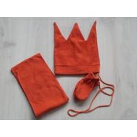 3 dlg set sjaal 118 cm/ muts 51 cm/ wanten tangerine