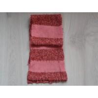 Mexx sjaal gebreid bruin melee/ zalmkleurig gestreept 112 cm