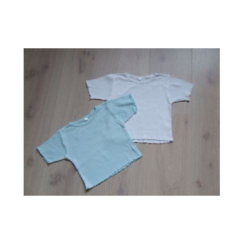 2 T-shirts, ijsblauw en wit mt 92