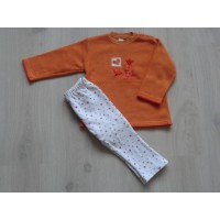"Baby Club 2 dlg set oranje/ wit ""bloemen, hartje"" mt 92"
