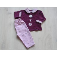 Baby Bébé 2 dlg set badstod bordeauxrood / oudroze Guinevere mt 86