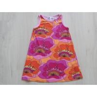 "H&M zomerjurk oranje/ paars ""retro bloemen"" mt 110"