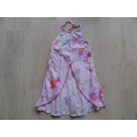 "Cakewalk zomerjurk roze ""flappen en bloemen"" mt 128"