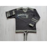 Hans sweater bruin / legergroen 'Eagle Fly' maat 110 - 116