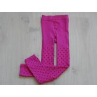 Legging fuchsia roze met rode stippen maillot stof maat 134 - 140