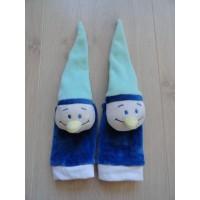 Slofjes - sokjes velours blauw mint kaboutertjes maat 0 - 6 maanden