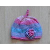 Babymutsje gebreid lila roze blauw gestreept bloem 1 maat