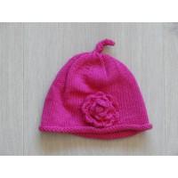 Babymutsje gebreid roze bloem 1 maat