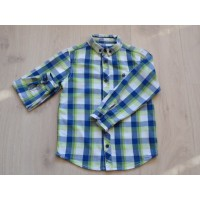 Rebel overhemd blauw frisgroen wit geruit maat 116