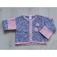 Cakewalk vest gebreid/ /gehaakt roze grijs bloemen maat 92