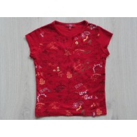 Esprit EDC T-shirt rood all over print tekeningen tekst maat 128 - 134