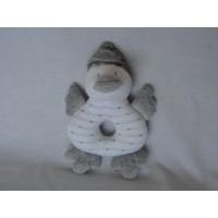Knuffel rammelaar eend grijs wit 16 cm