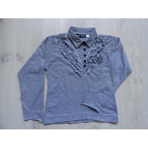 Barbara Farber blouse zwart wit roezels maat 116