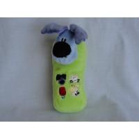 Tiamo Woezel en Pip telefoon velours groen geluidjes  Woezel 15 cm