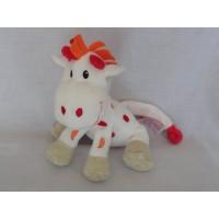 Tiamo knuffel giraf Gino wit oranje rood 15 cm