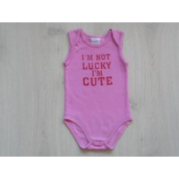 Baby Blue romper roze I'm not lucky I'm cute maat 86