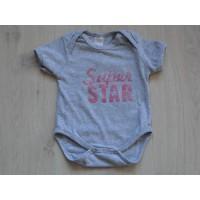 Baby Blu romper korte mouw grijs roze Super Star maat 50 - 56