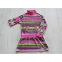 Baby Girls jurk gestreept velours col buidelzak maat 110 - 116
